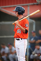 GCL Astros designated hitter Kyle Tucker (45) at bat during a game against the GCL Braves on July 23, 2015 at the Osceola County Stadium Complex in Kissimmee, Florida.  GCL Braves defeated GCL Astros 4-2.  (Mike Janes/Four Seam Images)