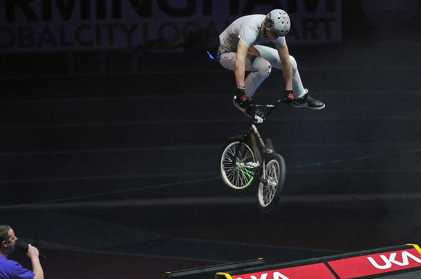 Photo: Tony Oudot/Richard Lane Photography. Aviva Grand Prix. 20/02/2010. .BMX Rider in the Extreme High Jump.