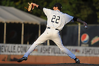 Asheville Tourists starting pitcher Ben Alsup #22 throws a pitch during game one of the South Atlantic League, Southern Division playoffs between the Greensboro Grasshoppers and the Asheville Tourists at McCormick Field on September 10, 2012 in Asheville, North Carolina . The Grasshoppers defeated the Tourists 6-3. (Tony Farlow/Four Seam Images).