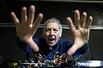 © Joel Goodman - 07973 332324 . 11/04/2015 . Manchester , UK . Clint Boon performs a DJ set . Black Grape perform a reunion gig in support of Bez's Reality Party at the Old Granada Studios Warehouse . Photo credit : Joel Goodman