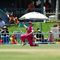 24th November 2019; Lilac Hill Park, Perth, Western Australia, Australia; Womens Big Bash League Cricket, Perth Scorchers versus Sydney Sixers; Hollie Ermitage of the Sydney Sixers celebrates catching Amy Jones of the Perth Scorchers on the boundary - Editorial Use