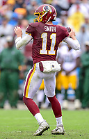 Landover, MD - September 23, 2018: Washington Redskins quarterback Alex Smith (11) in the pocket during game between the Green Bay Packers and the Washington Redskins at FedEx Field in Landover, MD. The Redskins get the win 31-17 over the visiting Packers. (Photo by Phillip Peters/Media Images International)