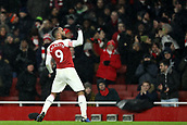 29th January 2019, Emirates Stadium, London, England; EPL Premier League Football, Arsenal versus Cardiff City; Alexandre Lacazette of Arsenal celebrates as he scores for 2-0 in the 83rd minute