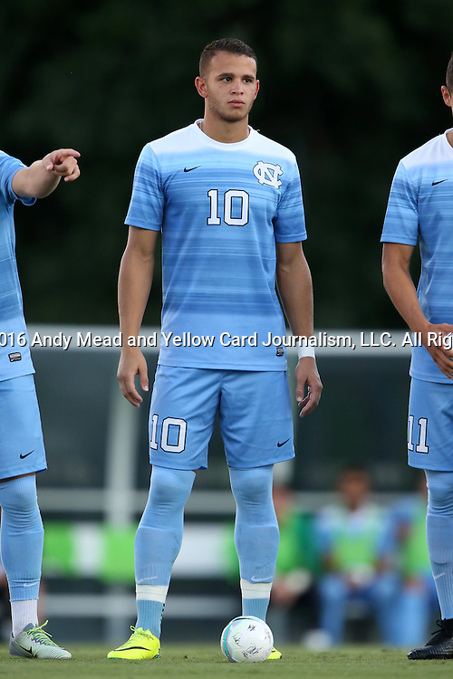 13 September 2016: North Carolina's Zach Wright. The University of North Carolina Tar Heels hosted the East Tennessee State University Buccaneers at Fetzer Field in Chapel Hill, North Carolina in a 2016 NCAA Division I Men's Soccer match. ETSU won the game 1-0 in sudden death overtime.