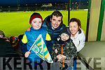 Daniel Owen and Oisin Teahan with and Maggie McKenna (Glenbeigh and Cromane), cheering for Kerry at the Kerry v Dublin, Allianz National League at Austin Stack Park, Tralee on Saturday night last.