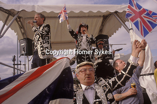 The Derby Horse race Epsom Downs Surrey Uk Circa 1985.  Pearly Kings and Queens.