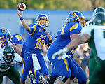 BROOKINGS, SD - SEPTEMBER 6:  Zach Lujan #16 from South Dakota State University throws a pass against Cal Poly in the first half of their game Saturday evening at Coughlin Alumni Stadium in Brookings.(Photo/Dave Eggen/Inertia)