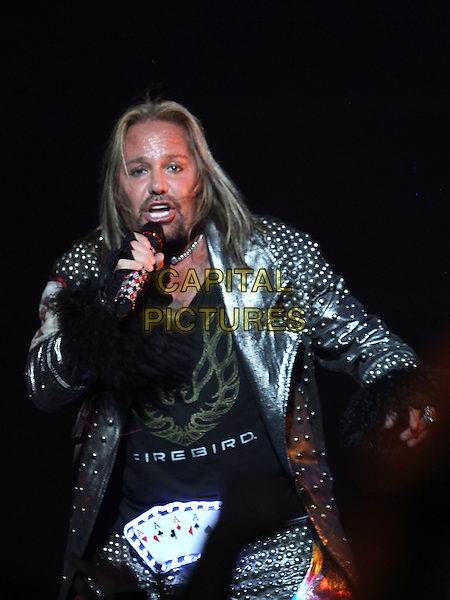 Vince Neil.Motley Crue in Sin City Kicks off month long residency at the Joint inside the Hard Rock Hotel and Casino, Las Vegas, Nevada, USA, .3rd February 2012 ..half length black studded leather jacket  music live on stage performing concert gig goatee beard facial hair microphone singing .CAP/ADM/MJT.© MJT/AdMedia/Capital Pictures.