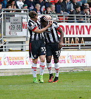 Grimsby Town's Akwasi Asante scores during the Sky Bet League 2 match between Leyton Orient and Grimsby Town at the Matchroom Stadium, London, England on 11 March 2017. Photo by Carlton Myrie / PRiME Media Images.