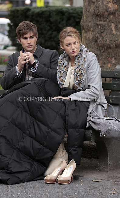 WWW.ACEPIXS.COM . . . . .  ....October 14 2009, New York City....Actors Chace Crawford and Blake Lively on the set of the TV show 'Gossip Girl' on October 14 2009 in New York City....Please byline: AJ Sokalner - ACEPIXS.COM..... *** ***..Ace Pictures, Inc:  ..tel: (212) 243 8787..e-mail: info@acepixs.com..web: http://www.acepixs.com