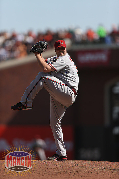 SAN FRANCISCO - SEPTEMBER 27:  Matt Albers of the Arizona Diamondbacks pitches during the game against the San Francisco Giants at AT&T Park on September 27, 2012 in San Francisco, California. (Photo by Brad Mangin)