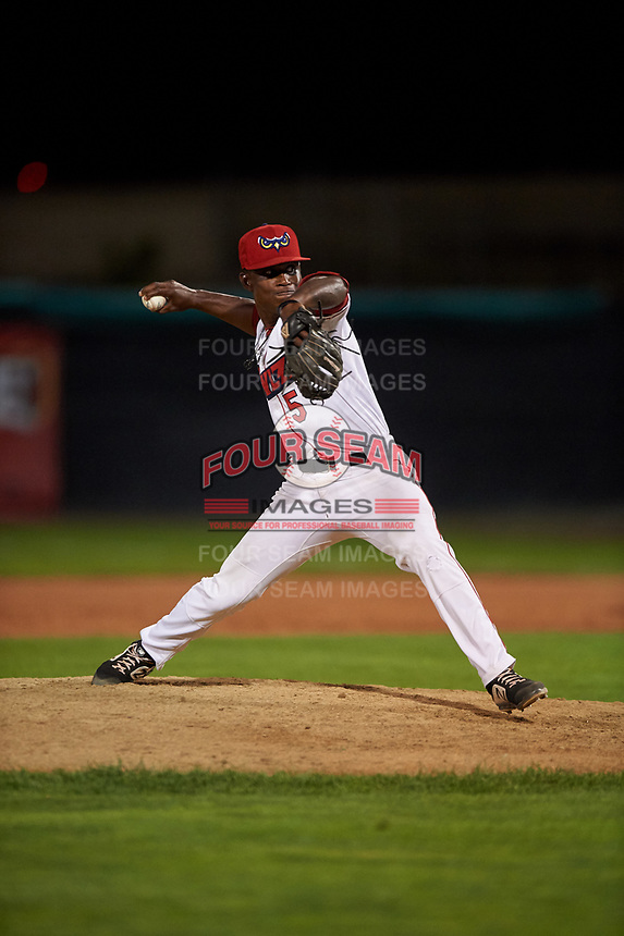 Orem Owlz relief pitcher Dazon Cole (5) during a Pioneer League game against the Idaho Falls Chukars at The Home of the OWLZ on August 13, 2019 in Orem, Utah. Orem defeated Idaho Falls 3-1. (Zachary Lucy/Four Seam Images)
