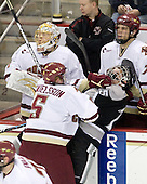 Philip Samuelsson (BC - 5), Kyle MacKinnon (Providence - 15) - John Muse (BC - 1), John Hegarty (BC - Dir-Hockey Operations), Carl Sneep (BC - 7) - The Boston College Eagles defeated the Providence College Friars 4-1 on Tuesday, January 12, 2010, at Conte Forum in Chestnut Hill, Massachusetts.