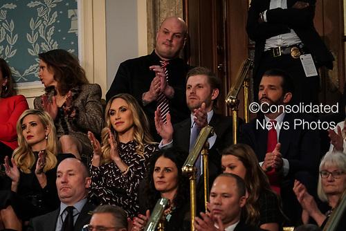 FEBRUARY 5, 2019 - WASHINGTON, DC:  Ivanka Trump, Lara Trump, Eric Trump, and Donald Trump, Jr. during the State of the Union address at the Capitol in Washington, DC on February 5, 2019. <br /> Credit: Doug Mills / Pool, via CNP