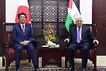 Palestinian President Mahmoud Abbas meets with Japanese Prime Minister Shinzo Abe in the West Bank city of Ramallah on May 1, 2018. Abe is on a Middle East tour which will took him to the UAE, Jordan, Israel and the Palestinian territories. Photo by Thaer Ganaim