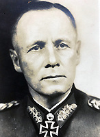 BNPS.co.uk (01202 558833)<br /> Pic Lawrences/BNPS<br /> <br /> The Desert Fox - Erwin Rommel.<br /> <br /> Extraordinary tale of Anglo-German post war  friendship emerges...<br /> <br /> The official car standard for legendary German commander Erwin Rommel is being sold by the family of a former British officer who befriended his widow after the war.<br /> <br /> Brig Desmond Young was captured by the Nazis in Libya and while being interrogated, Rommel personally intervened to protect him.<br /> <br /> After the war Mr Young befriended Rommel's widow Lucia and wrote a biography called 'Rommel: The Desert Fox'.<br /> <br /> Mr Young and Frau Rommel struck up a friendship and she presented him with the standard after he gifted her the European rights to his book as an act of kindness due to her penniless state.<br /> <br /> Estimated at £12,000, the historic item will go under the hammer at Lawrence's auction house in Crewkerne, Somerset on November 14th.