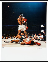 BNPS.co.uk (01202 558833)<br /> Pic: Heritage/BNPS<br /> <br /> A limited edition print of the famous KO is also being auctioned.<br /> <br /> The gloves are off...Heavyweight tussle expected for &pound;350,000 gloves.<br /> <br /> For sale - the gloves worn by Ali and Liston in the famous 1965 &ldquo;Phantom Punch&rdquo; bout in Lewiston, Maine. - the most controversial sports event in history <br /> <br /> The gloves have been consigned by Los Angeles collector Seth Ersoff, who acquired the pair from the family of the boxing commissioner for the state of Maine in 1965, who seized the gloves at the bout&rsquo;s scandalous end &ndash; Ali&rsquo;s &ldquo;Phantom Punch&rdquo; &ndash; just under two minutes into the first round.<br /> <br /> Speculation as to whether Liston was made to take a dive by his underworld connections continues to this day, making the fight one of the most controversial in history.<br /> <br /> New York - Heritage - 21st Feb - &pound;350,000