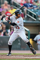 Indianapolis Indians outfielder Gorkys Hernandez #13 during a game against the Rochester Red Wings at Frontier Field on June 18, 2011 in Rochester, New York.  Rochester defeated Indianapolis 12-7.  (Mike Janes/Four Seam Images)