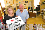 NO CUTS: Margaret O'Shea and Noel O'Neilof the Kerry Network of People with Disabilities who are organising a protest march in Tralee against cuts proposed in the An Bord Snip Nua report.