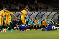 June 7, 2016: GIORGOS TZAVELLAS (3) and ANDREAS SAMARIS (22) of Greece lays on the ground during an international friendly match between the Australian Socceroos and Greece at Etihad Stadium, Melbourne. Photo Sydney Low