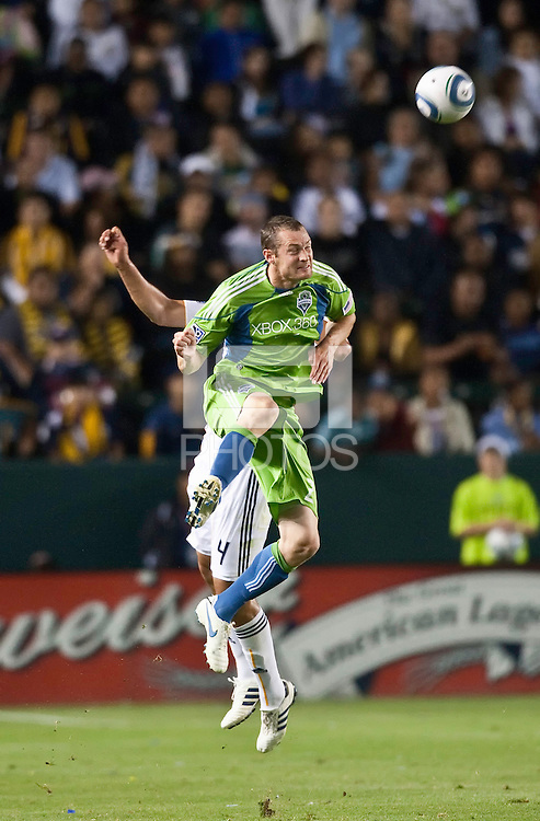 Seattle Sounder forward Pat Noonan (25) heads a pass during the second half of the game between LA Galaxy and the Seattle Sounders at the Home Depot Center in Carson, CA, on July 4, 2010. LA Galaxy 3, Seattle Sounders 1.