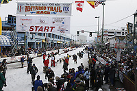 Saturday March 6 , 2010  Middie Johnson leaves the start line of the ceremonial start of the 2010 Iditarod in Anchorage , Alaska