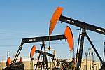 Petroleum (oil) pump jacks in the Midway oil field, Kern County, California.