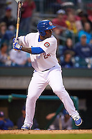 Chattanooga Lookouts third baseman Miguel Sano (24) at bat during a game against the Jacksonville Suns on April 30, 2015 at AT&T Field in Chattanooga, Tennessee.  Jacksonville defeated Chattanooga 6-4.  (Mike Janes/Four Seam Images)