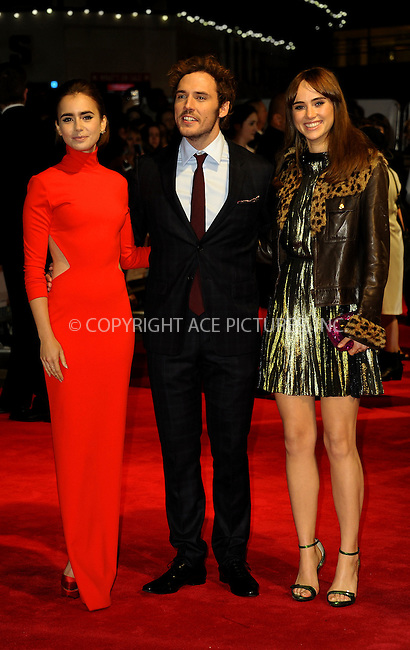 WWW.ACEPIXS.COM<br /> <br /> US SALES ONLY<br /> <br /> October 6, 2014, London, England<br />  <br /> Lily Collins, Sam Claflin and Suki Waterhouse arriving at the World Premiere of 'Love, Rosie' held at Odeon West End on October 6, 2014 in London, England.<br /> <br /> By Line: Famous/ACE Pictures<br /> <br /> ACE Pictures, Inc<br /> Tel: 646 769 0430<br /> Email: info@acepixs.com
