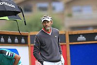 Raphael Jacquelin (FRA) on the 10th tee during a wet Saturday's Round 3 of the 2017 Omega European Masters held at Golf Club Crans-Sur-Sierre, Crans Montana, Switzerland. 9th September 2017.<br /> Picture: Eoin Clarke | Golffile<br /> <br /> <br /> All photos usage must carry mandatory copyright credit (&copy; Golffile | Eoin Clarke)