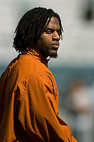 07 October 2006: Texas defender Michael Griffin warms up before the Longhorns game against the University of Oklahoma Sooners at the Cotton Bowl in Dallas, TX.