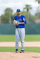 Team Italy starting pitcher Alessandro Maestri (17) gets ready to deliver a pitch during an exhibition game against the Oakland Athletics at Lew Wolff Training Complex on October 3, 2018 in Mesa, Arizona. (Zachary Lucy/Four Seam Images)