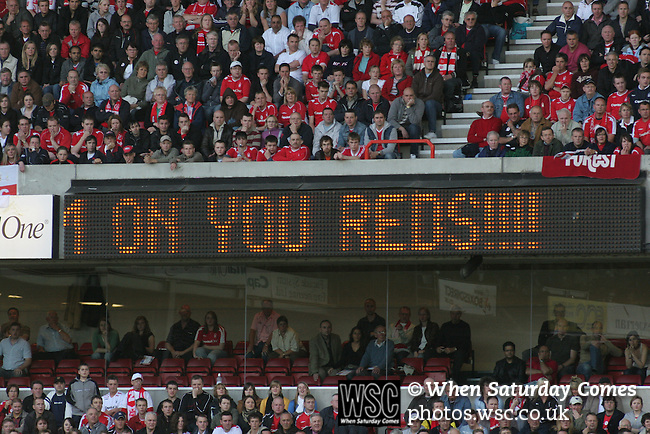 Nottingham Forest 2 Yeovil Town 5, 18/05/2007. City Ground, League One Play Off Semi Final 2nd Leg. The electronic scoreboard  giving encouragement to Nottingham Forest during the League One play-off semi-final match at the City Ground against Yeovil Town. Forest had won the first leg by 2 goals to nil at Yeovil the previous week but were defeated by 5 goals to 2 after extra time and missed out on the play-off final at Wembley. Yeovil went on to play Blackpool in the final for the one remaining promotion place to the Championship. Photo by Colin McPherson.