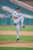 Grand Junction Rockies starting pitcher Miguel Ausua (11) delivers a pitch to the plate against the Ogden Raptors at Lindquist Field on June 17, 2019 in Ogden, Utah. The Rockies defeated the Raptors 9-0. (Stephen Smith/Four Seam Images)