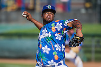 Juan Jaime (56) of the Ogden Raptors delivers a pitch to the plate against the Grand Junction Rockies in Pioneer League action at Lindquist Field on July 5, 2015 in Ogden, Utah. Ogden defeated Grand Junction 12-2.  (Stephen Smith/Four Seam Images)