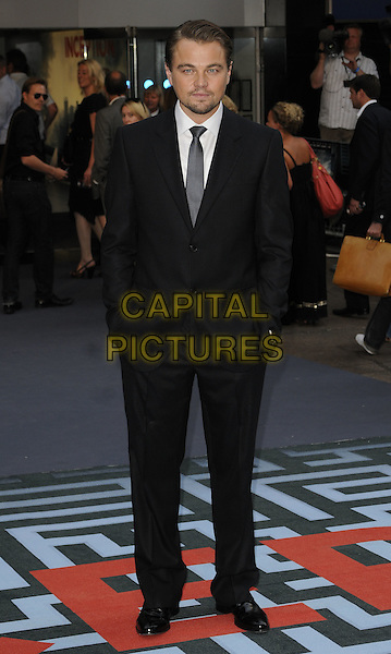 LEONARDO DICAPRIO .At the World Premiere of 'Inception' at the Odeon Leicester Square cinema, Leicester Square, London, England, .UK, July 8th 2010..arrivals full length black suit tie white shirt hands in pockets leo di caprio .CAP/CAN.©Can Nguyen/Capital Pictures.
