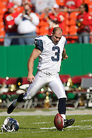 Seattle Seahawks kicker Josh Brown warms up before the game at Arrowhead Stadium  in Kansas City, Missouri on October 29, 2006. The Chiefs won 35-28.