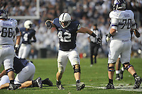 06 October 2012:  Penn State LB Michael Mauti (42) celebrates after a defensive stop. The Penn State Nittany Lions defeated the Northwestern Wildcats 39-28 at Beaver Stadium in State College, PA.
