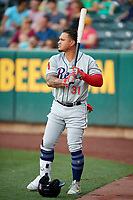 Oswaldo Arcia (31) of the Reno Aces on deck against the Salt Lake Bees in Pacific Coast League action at Smith's Ballpark on June 15, 2017 in Salt Lake City, Utah. The Aces defeated the Bees 13-5. (Stephen Smith/Four Seam Images)