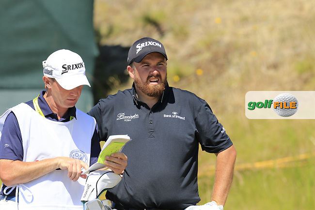 Shane LOWRY (IRL) and caddy Dermot Byrne on the 9th tee during Saturday's Round 3 of the 2015 U.S. Open 115th National Championship held at Chambers Bay, Seattle, Washington, USA. 6/20/2015.<br /> Picture: Golffile | Eoin Clarke<br /> <br /> <br /> <br /> <br /> All photo usage must carry mandatory copyright credit (&copy; Golffile | Eoin Clarke)