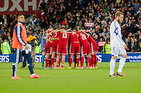 Wednesday 4th  December 2013 Pictured: Wales' post match huddle<br /> Re: UEFA European Championship Wales v Cyprus at the Cardiff City Stadium, Cardiff, Wales, UK