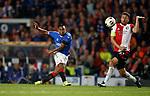 19.09.2019 Rangers v Feyenoord: Alfredo Morelos shoots pasy Eric Botteghin