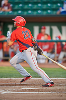 Francisco Del Valle (23) of the Orem Owlz bats against the Ogden Raptors at Lindquist Field on August 3, 2018 in Ogden, Utah. The Raptors defeated the Owlz 9-4. (Stephen Smith/Four Seam Images)