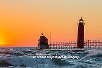 64795-01111 Grand Haven South Pier Lighthouse at sunset on Lake Michigan, Ottawa County, Grand Haven, MI
