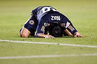 Philadelphia Union forward Carlos Ruiz (20). The LA Galaxy defeated the Philadelphia Union 1-0 at Home Depot Center stadium in Carson, California on  April  2, 2011....