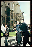 Peter Tatchell is arrested and forcibly removed  after he and other Gay rights activists from 'Outrage'  occupied the pulpit at Canterbury Cathedral, during Archbishop Carey's Easter sermon,  April 1998. to protest against the Church's views on same sex marriage