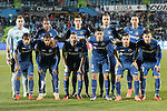 Getafe's team photo with Vicente Guaita, Alvaro Pereira, Stefan Scepovic, Juan Cala, Alvaro Vazquez, Damian Suarez, Wanderson, Mehdi Lacen, Emiliano Velazquez, Pablo Sarabia and Alvaro Medran during La Liga match. March 18,2016. (ALTERPHOTOS/Acero)