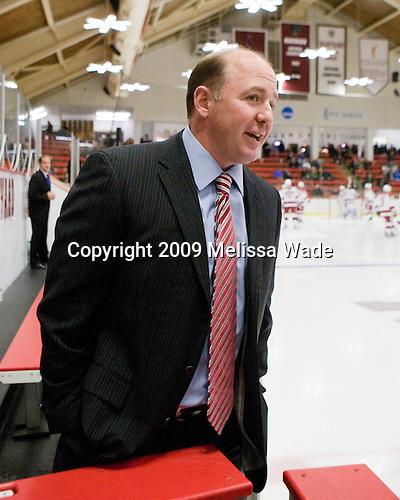 Ted Donato (Harvard - Head Coach) - The Boston College Eagles defeated the Harvard University Crimson 3-2 on Wednesday, December 9, 2009, at Bright Hockey Center in Cambridge, Massachusetts.