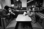 BROOKLYN -- FEBRUARY 14, 2009:  Rapper Aimz meets some girls while hanging out at McDonald's on Fulton street on February 14, 2009 in Brooklyn.  (PHOTOGRAPH BY MICHAEL NAGLE)..