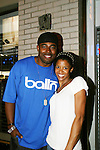 """One Life To Live's Renee Elise Goldsberry stars in Broadway's Rent as """"Mimi"""" and poses with Lamman Rucker (ATWT """"Marshall Travers"""" & AMC's Garret Williams"""") who came to see her in Rent on August 22, 2008 at the Nederlander Theatre, NYC. (Photo by Sue Coflin/Max Photos)"""